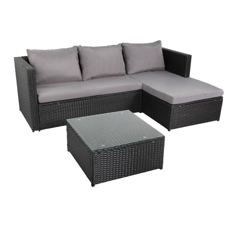 Beneffito - NAVAGIO - Salon de Jardin en Résine Tressée 3 Places - Modulable - Canapé d'Angle - Méridienne - Table Basse Carrée 60x60 cm - Noir Gris