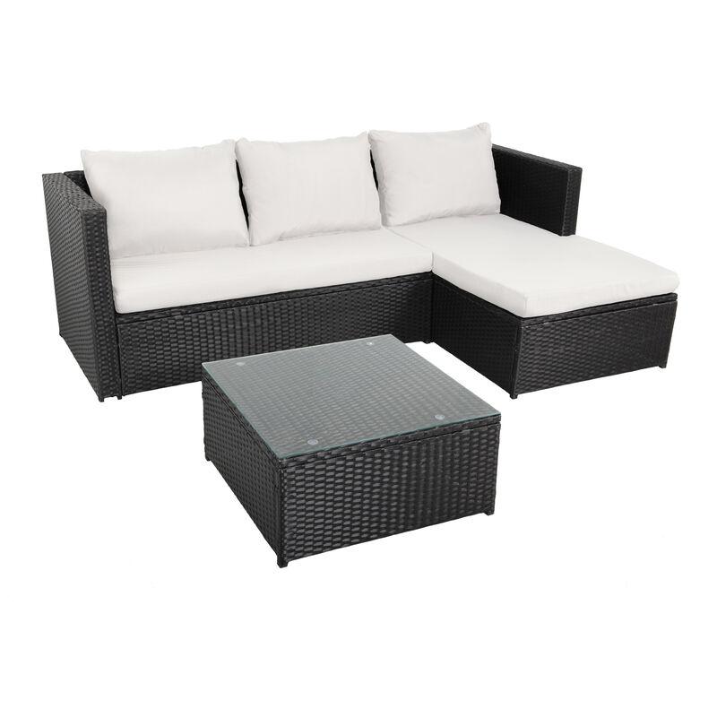 NAVAGIO - Salon de Jardin en Résine Tressée 3 Places - Modulable - Canapé d'Angle - Méridienne - Table Basse Carrée 60x60 cm - Noir Beige - Noir Beige