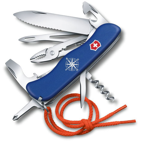Navaja suiza de bolsillo grande Victorinox Skipper Azul 0.8593.2W con 18 funciones Incluye un cordón, más un abridor de grillete con saca anzuelos con tensador de vela