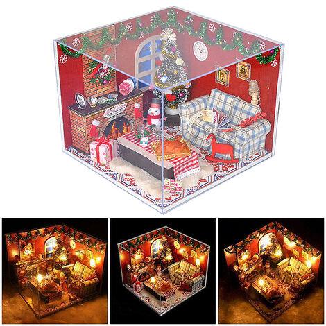 Navidad DIY montaje de muebles de casa de muñecas de madera en miniatura kit muebles modelo de juguete Navidad