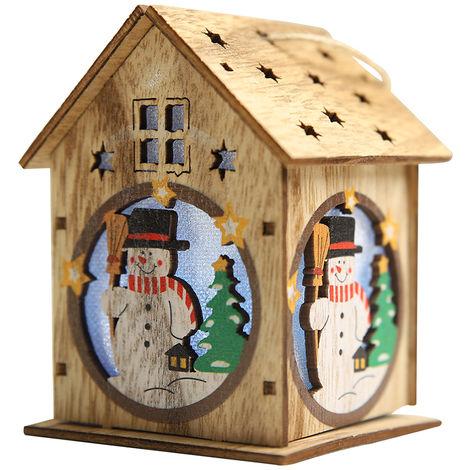 Navidad luminosa casa de madera con LEDs de luz de colores de bricolaje de madera de arboles de Navidad Chalet ornamentos colgantes, tipo 2