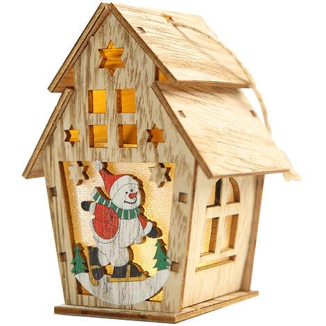 Navidad luminosa casa de madera con luz LED DIY chalet de madera del arbol de navidad Ornamentos colgantes, L, tipo 2