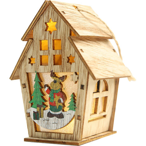 Navidad luminosa casa de madera con luz LED DIY chalet de madera del arbol de navidad Ornamentos colgantes, L, tipo 3