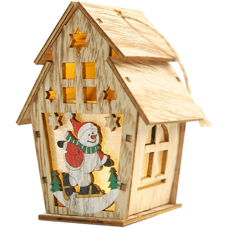 Navidad luminosa casa de madera con luz LED DIY chalet de madera del arbol de navidad Ornamentos colgantes, S, Type 2