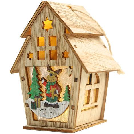 Navidad luminosa casa de madera con luz LED DIY chalet de madera del arbol de navidad Ornamentos colgantes, S, Type 3