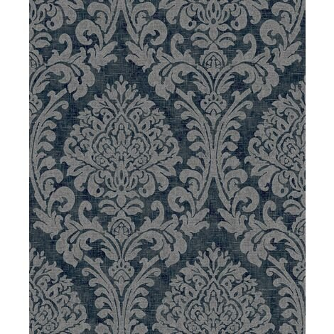 """main image of """"Navy And Silver Damask Wallpaper Traditional Heavy Duty Textured Vinyl"""""""