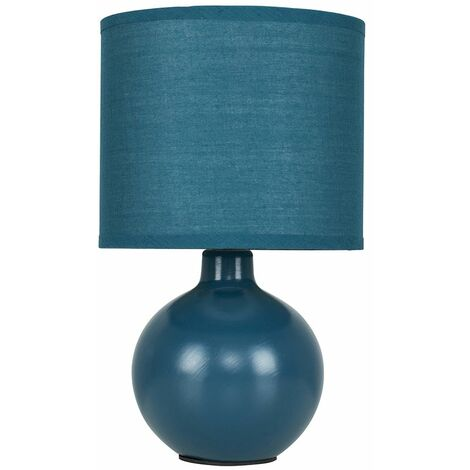 Navy Blue Ceramic Round Table Lamp With Navy Blue Fabric Shade - Blue