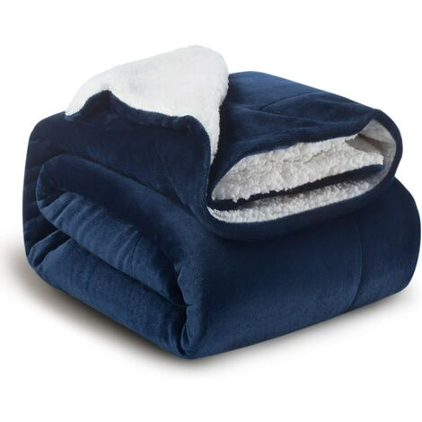 Navy Blue Sherpa Fleece Blanket 152x202cm - Double Sided Reversible Bed Blanket Soft and Warm Plaid Flannel Sofa Throw