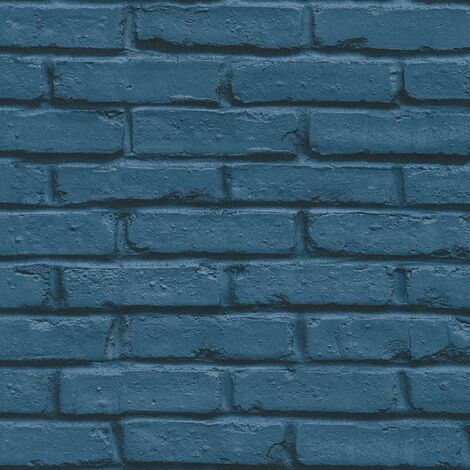 Navy Brick Effect Wallpaper AS Creation Industrial Modern Paste The Wall Vinyl