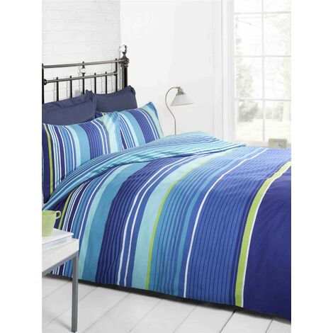 Navy Light Blue Green and White Striped Teen Double Duvet Cover Bedding Bed Set