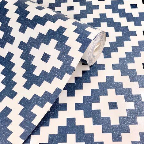 Navy White 3D Pixel Geometric Glitter Embossed Wallpaper Paste The Wall Vinyl