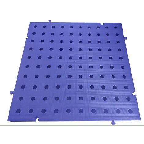Náyade® Block Losa Tarima Goma desmontable 50x50x2,5 cm. Color Azul. Con Orificio. *4 Uds. *1m2.