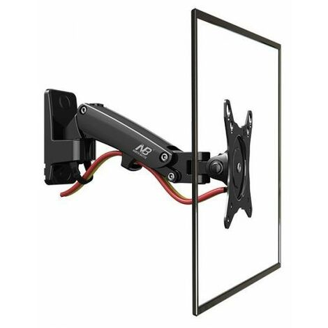 NB F120B - Support mural ergo avec ressort à gaz pour petits TV et écrans 43 à 68 cm VESA 75, 100 - noir
