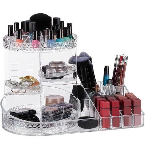 Neceser de maquillaje, 360º, Giratorio, Organizador, Multiusos, 1 Ud., Transparente