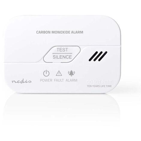 Nedis Alarme de monoxyde de carbone   Alimenté par pile   Conformité EN: EN 50291   Avec bouton pause   Avec bouton de test   85 dB   Blanc NE550693169