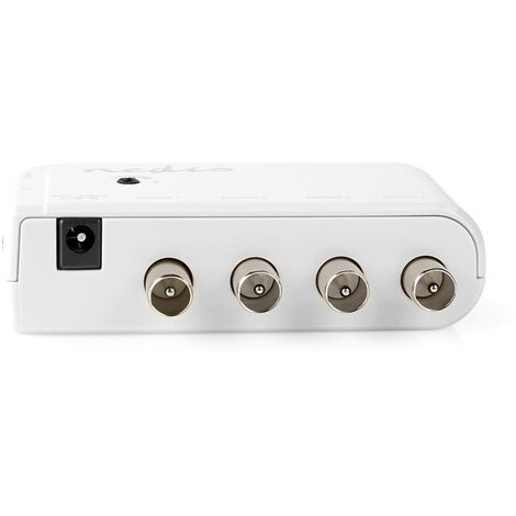 Nedis Amplificateur CATV   Gain: 10 dB   50-790 MHz   Nombre de sorties: 4   Prendre le contrôle   Blanc NE550706478