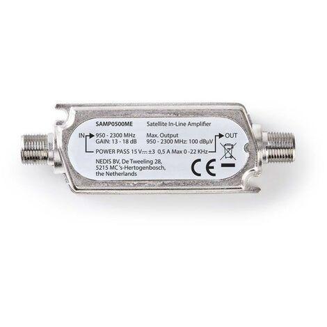 NEDIS Amplificateur en Ligne pour Satellite 950 - 2 300 MHz Gain Max. 18 dB Répartiteur : 15 V