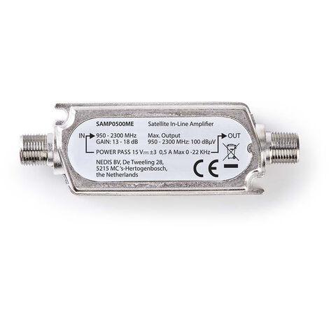 Nedis Amplificateur satellite intégré | 950-2300 MHz | Gain: 18 dB | 75 Ohm | Passe de puissance | Mode pente | Métal | Argent NE550687595