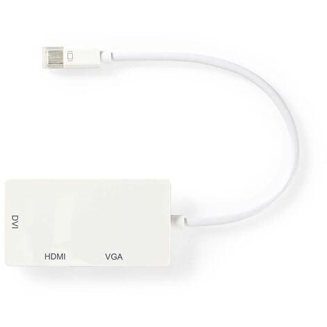 Nedis Cable Adaptador Multipuerto Mini DisplayPort | Mini DisplayPort Macho - VGA Hembra + DVI-D Hembra de 24+1 Pines + Salida HDMI™ | 0,2 m | Blanco NE550669932