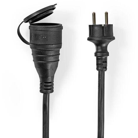 Nedis Cable Alargador de Alimentación | 15 m | H05VV-F 3G1.5 | IP44 | Negro NE550681890