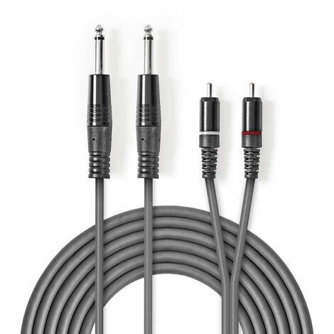 Nedis Cable de Audio Estéreo | 2x 6,35 mm Macho – 2x RCA Macho | 3,0 m | Gris NE550686166