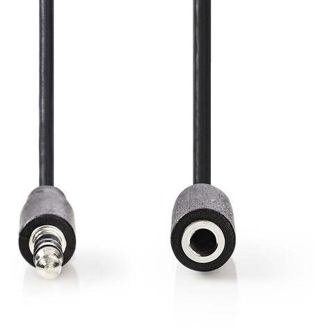 Nedis Cable de Audio Estéreo | Macho de 3,5 mm - Hembra de 3,5 mm | 1,0 m | Negro NE550677576