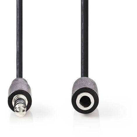 Nedis Cable de Audio Estéreo | Macho de 3,5 mm - Hembra de 3,5 mm | 2,0 m | Negro NE550677577