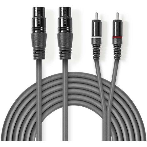 Nedis Cable de audio XLR | 2x XLR de 3 pines hembra - 2x RCA macho | 1,5 m | Gris NE550686216
