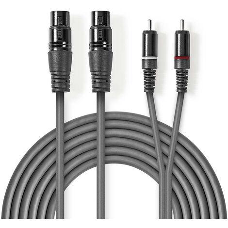 Nedis Cable de audio XLR | 2x XLR de 3 Pines Hembra - 2x RCA Macho | 3,0 m | Gris NE550686217