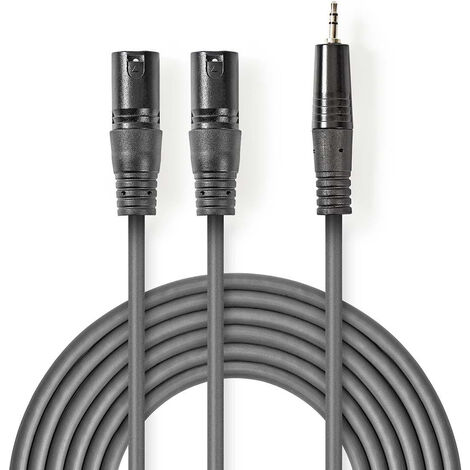 Nedis Cable de audio XLR | 2x XLR de 3 Pines Macho - 3,5 mm Macho | 3,0 m | Gris NE550686219