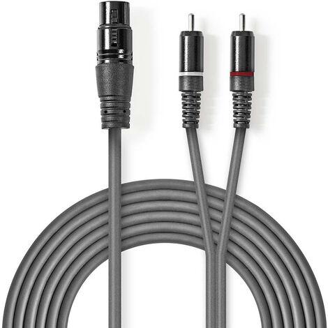 Nedis Cable de audio XLR | XLR de 3 Pines Hembra – 2x RCA Macho | 3,0 m | Gris NE550686213