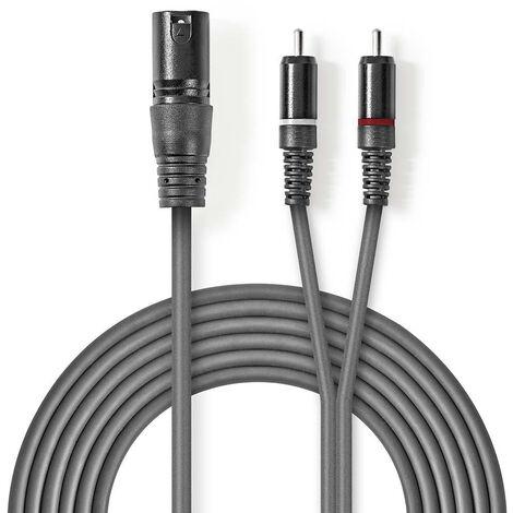 Nedis Cable de audio XLR | XLR de 3 Pines Macho - 2x RCA Macho | 3,0 m | Gris NE550686208