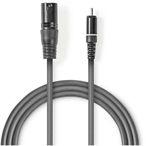 Nedis Cable de audio XLR | XLR de 3 pines macho - RCA macho | 3,0 m | Gris NE550686176