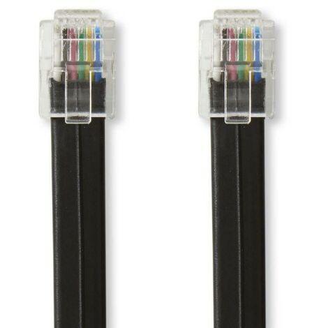 NEDIS Câble de Télécommunication RJ12 (6P6C) mâle - RJ12 (6P6C) mâle 1 m Noir