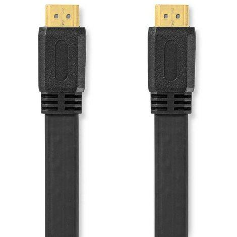 NEDIS Câble HDMI 10M haute vitesse plat avec Ethernet Connecteur HDMI - Connecteur HDMI 10 m Noir