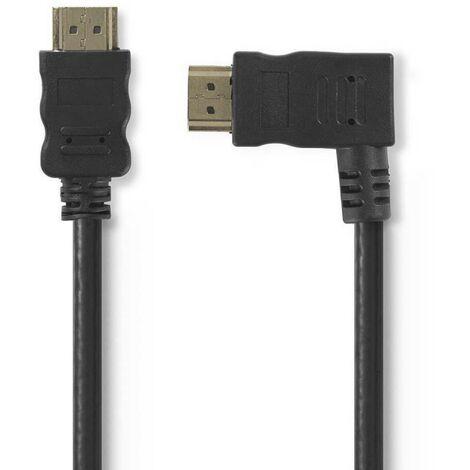 NEDIS Câble HDMI 1.50M Haute Vitesse avec Ethernet Connecteur HDMI - Connecteur HDMI Coudé vers la Droite 1,5 m Noir