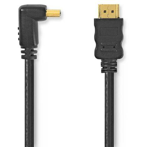 NEDIS Câble HDMI 1.5M Haute Vitesse avec Ethernet Connecteur HDMI - Connecteur HDMI Coudé à 270° 1,5 m Noir