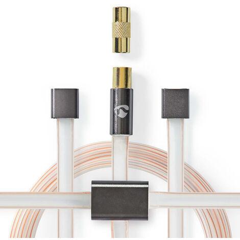 Nedis Ensemble d'Antennes FM Dipôles | CEI (coaxial) et Adaptateur Coaxial mâle vers mâle | 2,0 m | Transparent - Gris NE550746918