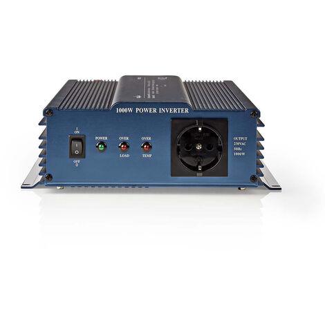 Nedis Onduleur pur à onde sinusoïdale | Tension d'entrée: 12 VDC | Connexion (s) de sortie d'alimentation de l'a: 1 | 230 V ~ 50 Hz | 1000 W | Puissance de sortie maximale: 2000 W | Type de boîte: F (CEE 7/3) | bornier à vis | Efficacité: 85 % | Onde sinu