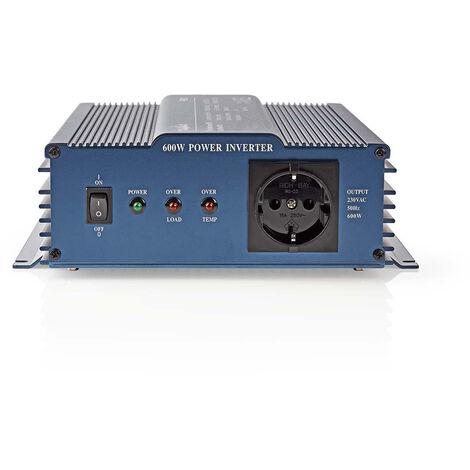 Nedis Onduleur pur à onde sinusoïdale | Tension d'entrée: 12 VDC | Connexion (s) de sortie d'alimentation de l'a: 1 | 230 V ~ 50 Hz | 600 W | Puissance de sortie maximale: 1000 W | Type de boîte: F (CEE 7/3) | bornier à vis | Efficacité: 85 % | Onde sinus