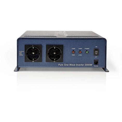 Nedis Onduleur pur à onde sinusoïdale | Tension d'entrée: 12 VDC | Connexion (s) de sortie d'alimentation de l'a: 2 | 230 V ~ 50 Hz | 2000 W | Puissance de sortie maximale: 4000 W | Type de boîte: F (CEE 7/3) | bornier à vis | Efficacité: 85 % | Onde sinu