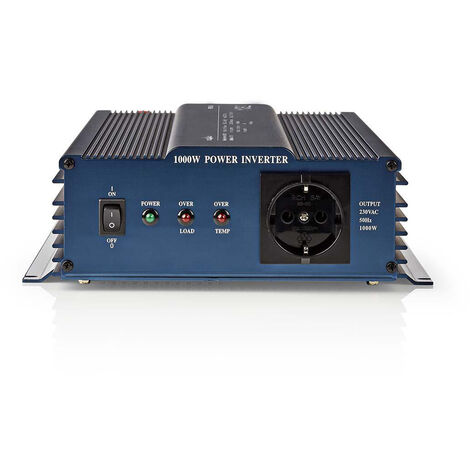 Nedis Onduleur pur à onde sinusoïdale | Tension d'entrée: 24 VDC | Connexion (s) de sortie d'alimentation de l'a: 1 | 230 V ~ 50 Hz | 1000 W | Puissance de sortie maximale: 2000 W | Type de boîte: F (CEE 7/3) | bornier à vis | Efficacité: 85 % | Onde sinu