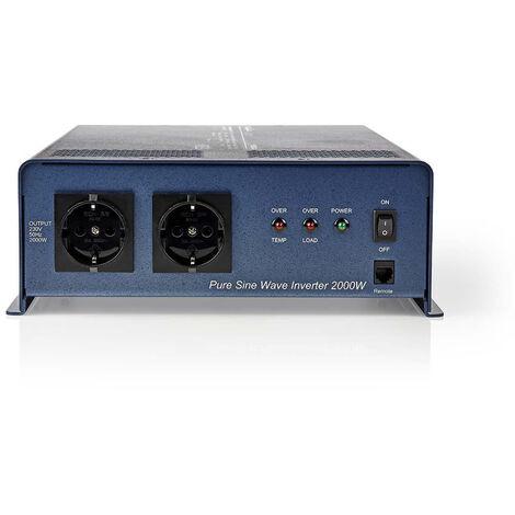 Nedis Onduleur pur à onde sinusoïdale | Tension d'entrée: 24 VDC | Connexion (s) de sortie d'alimentation de l'a: 2 | 230 V ~ 50 Hz | 2000 W | Puissance de sortie maximale: 4000 W | Type de boîte: F (CEE 7/3) | bornier à vis | Efficacité: 85 % | Onde sinu