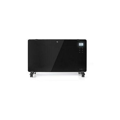 Nedis Panneau Chauffant Convecteur en Verre | Thermostat | Écran LCD | 2 Réglages de Chaleur | Sur Pied / Montage Mural | 2 000 W | Noir NE550709489
