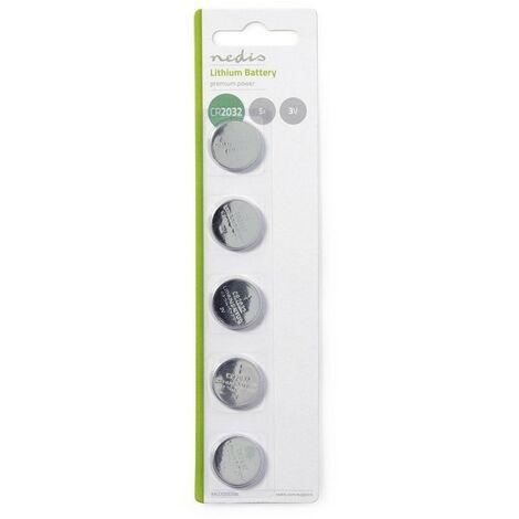 NEDIS Pile-Bouton au Lithium CR2032 3 V 5 pièces Blister