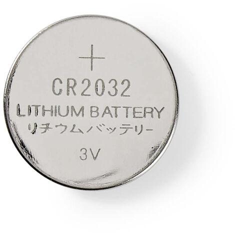 Nedis Pile-Bouton au Lithium CR2032 | 3.00 V | Lithium | CR2032 / 5004LC | Nombre de batteries: 5 pièces | blister | CR2032 | Argent NE550670320