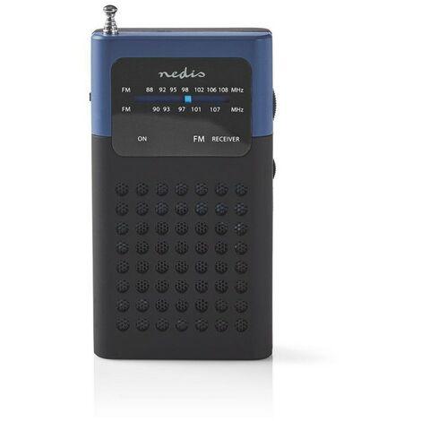 NEDIS Poste Radio FM Portable 1.5 W Format de Poche Noir/Bleu