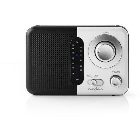 NEDIS Poste Radio FM Portable 2,4 W Poignée de Transport Noir/Blanc