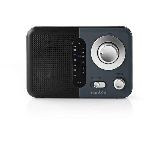 NEDIS Poste Radio FM Portable 2,4 W Poignée de Transport Noir/Gris