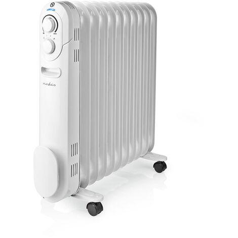 Nedis Radiador de Aceite Portátil | 2500 W | Blanco NE550716705